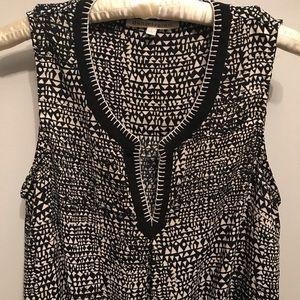 Daniel Rainn black & cream sleeveless aztec blouse
